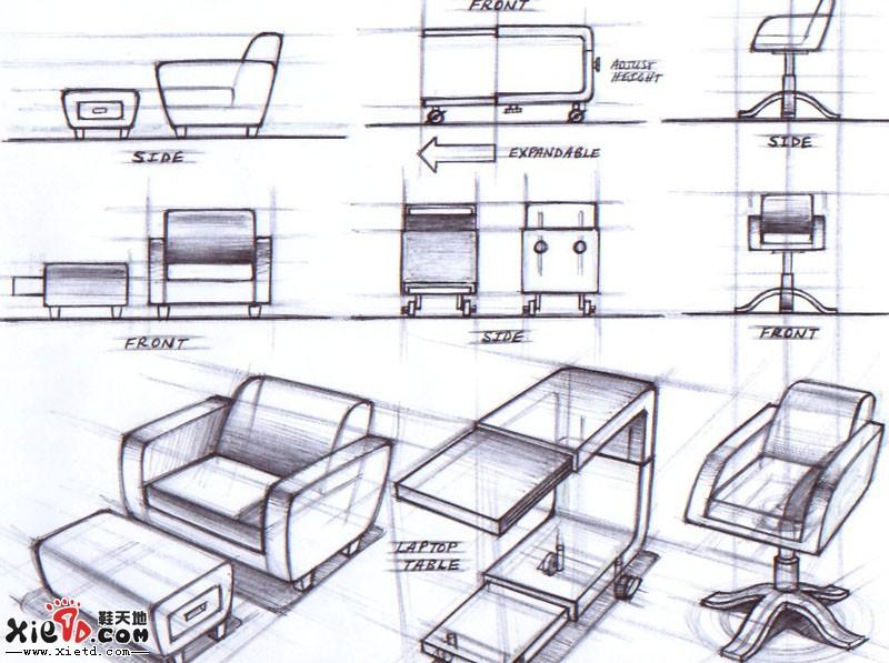 产品设计手绘效果图,相对来说比较简单的马克笔技法,以灰色为主,捎带
