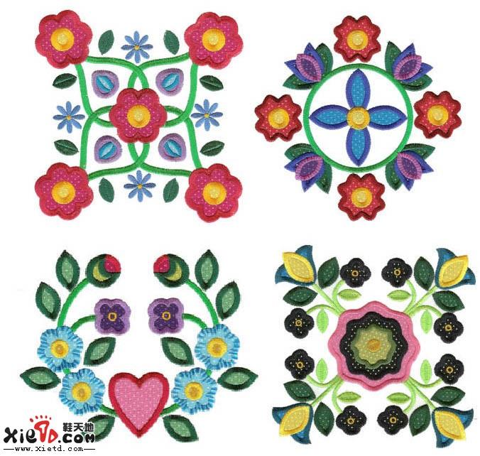 花朵 花卉 对称花电绣图案