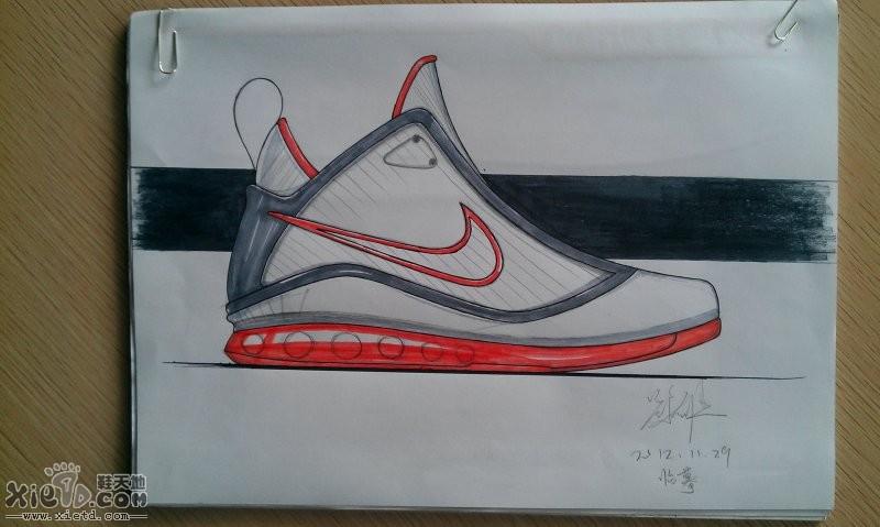 高帮休闲鞋素描图稿   耐克休闲潮流鞋素描图稿   中帮篮球鞋马克笔图
