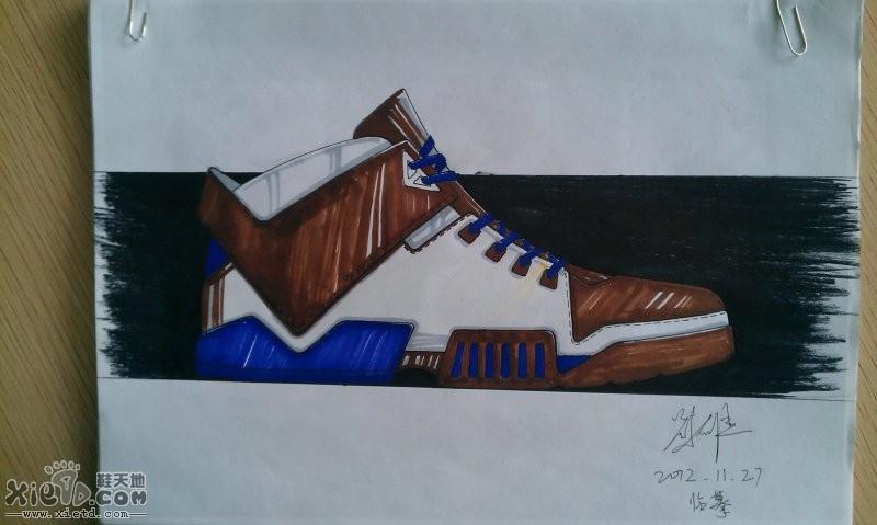 高帮休闲鞋素描图稿   耐克休闲潮流鞋素描图稿
