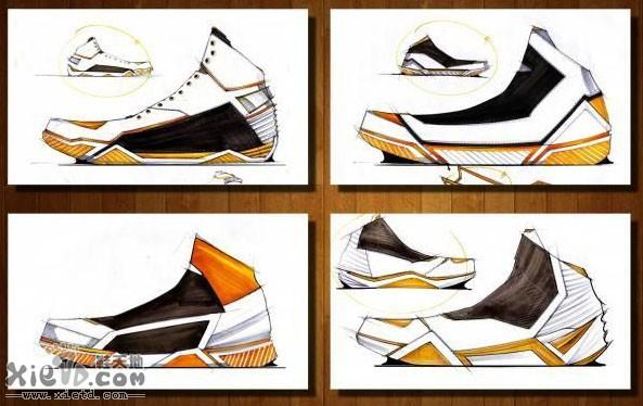 多款方案运动鞋手绘图稿设计作品效果图