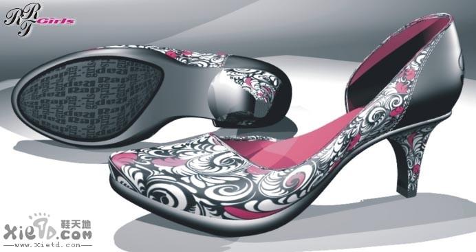 女單鞋花紋理圖案3d作品設計效果圖 3d作品,rhino,女單鞋 鞋