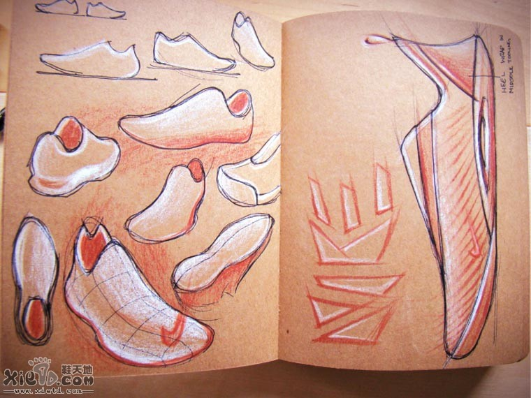 与 ADIDAS的设计草图稿 手绘作品,铅笔素描,运动鞋设计 鞋天地