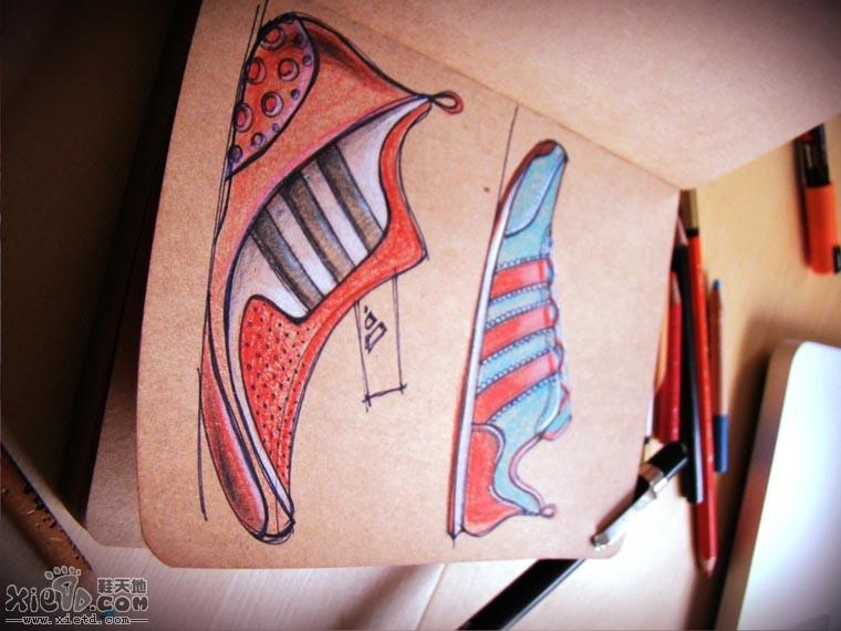 手绘彩铅笔NIKE 与 ADIDAS的设计草图稿 手绘作品,铅笔素描,运动