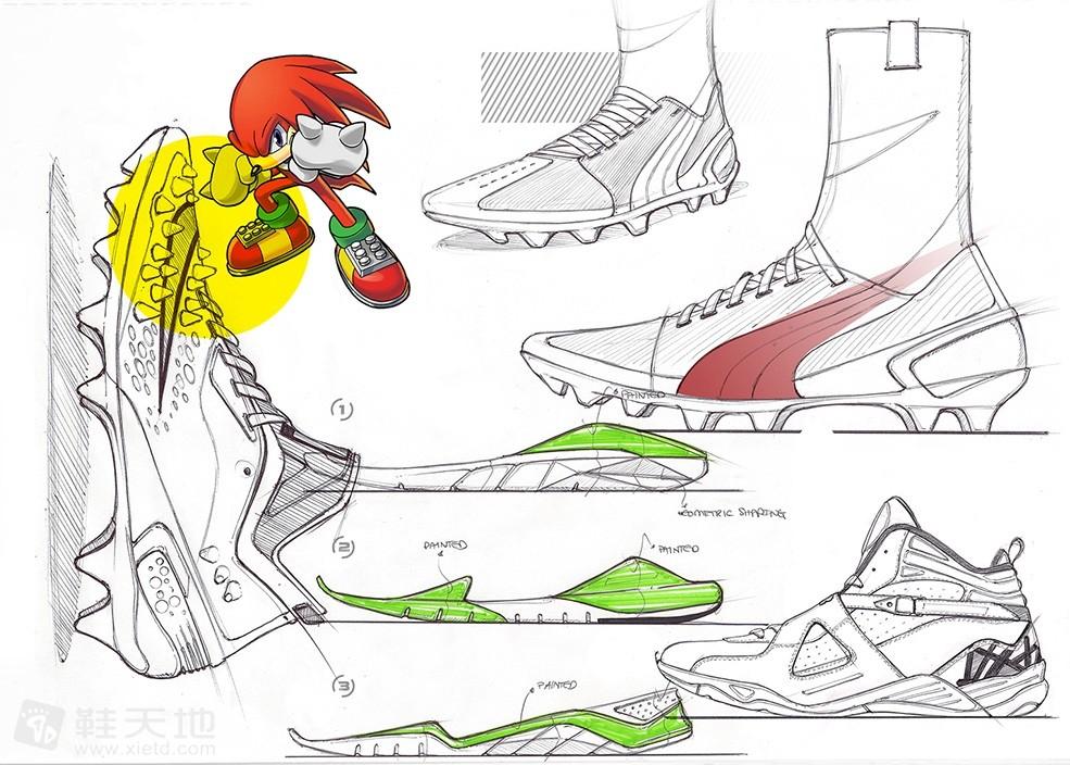 速写本上的概念设计蓝球鞋设计草图