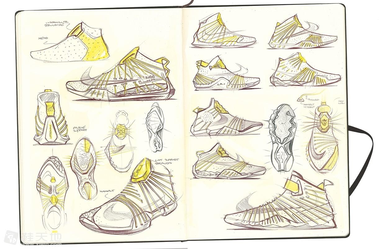 耐克运动鞋素描-来自锐步鞋类设计师约文决定以一个快速詹姆斯受启发的轻量级的篮球