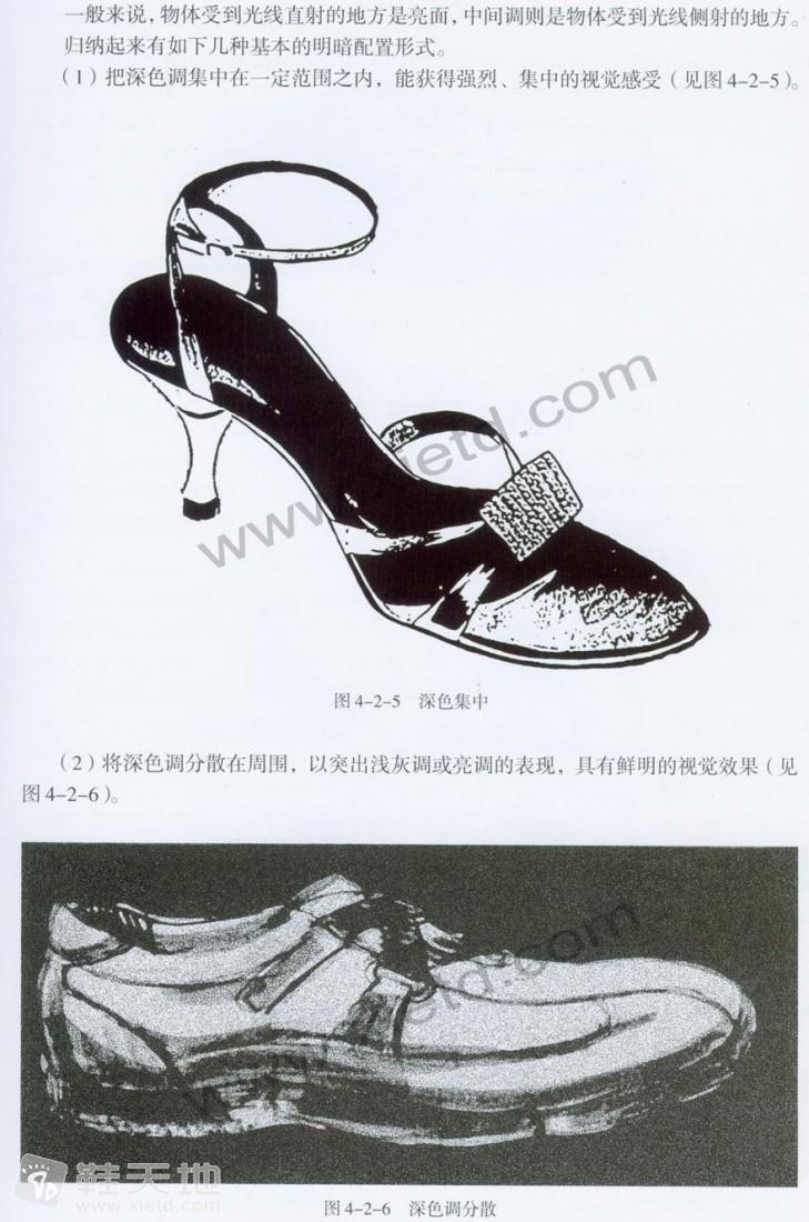第四课 鞋类素描的表现方法 鞋类效果图技法图片