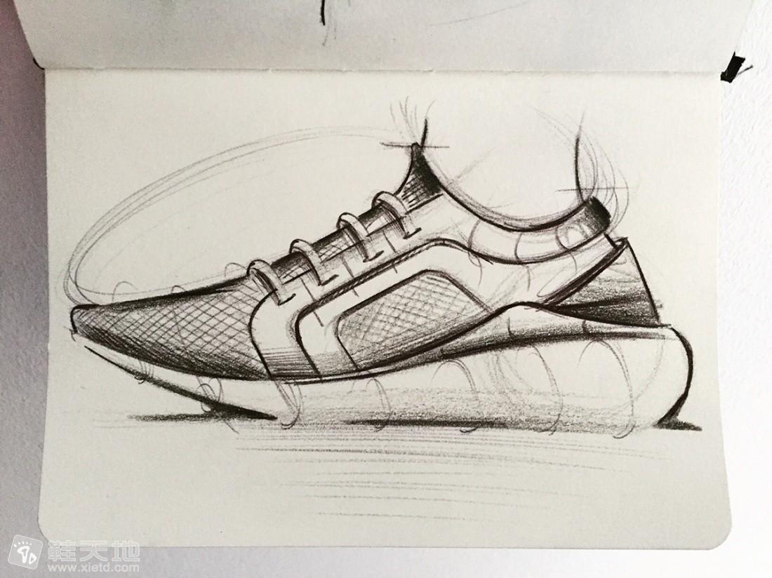 马克笔手绘运动鞋手稿图